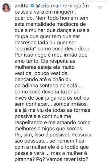 Anitta responde comentário machista em post de Nego do Borel (Foto: reprodução/instagram)