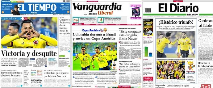 Jornais Colombia Brasil (Foto: Reprodução)