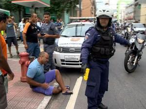 Protesto no Centro de Vitória teve confusão (Foto: Reprodução/ TV Gazeta)