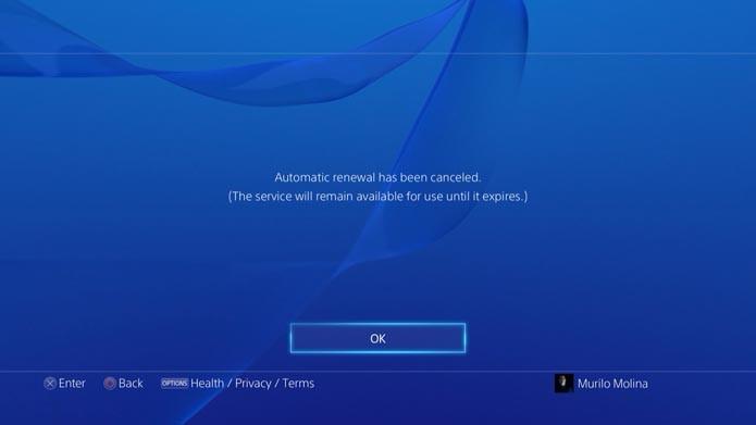 PSN: como cancelar a renovação automática da PSN Plus no Playstation 4 (Foto: Reprodução/Murilo Molina)