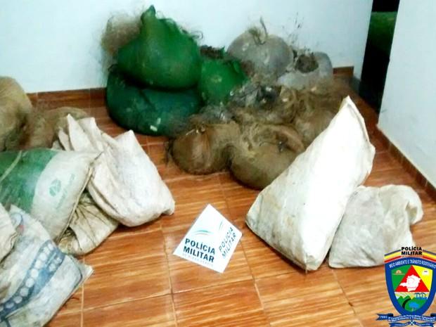 Materiais apreendidos pela PM em usina hidrelétrica de Araguari (Foto: Polícia Militar de Meio Ambiente/Divulgação)