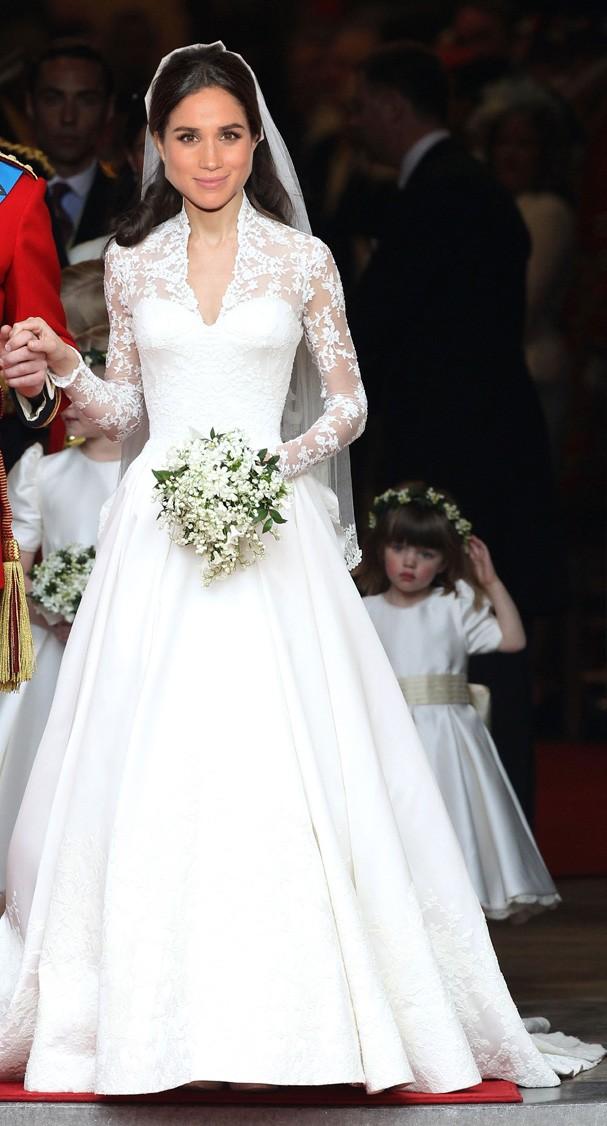 O icônico vestido de noiva de Kate Middleton (Foto: Getty Images)