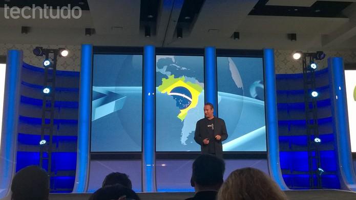 Mark Stanley apresenta a conferência da Sony com foco na America Latina na E3 2014 OK (Foto: Isadora Díaz/ TechTudo)