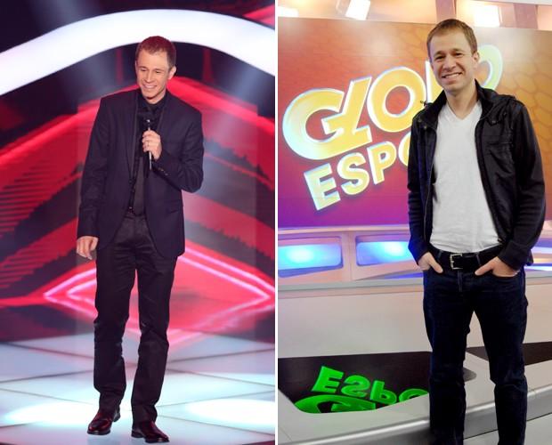 Tiago Leifert se divide entre as apresentações do The Voice Brasil e Globo Esporte São Paulo (Foto: Isabella Pinheiro / Zé Paulo Cardeal / TV globo)