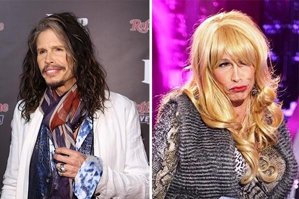 No começo desse ano, Steven Tyler decidiu testar seu talento em uma falsa audição para o 'American Idol' e fez isso disfarçado de mulher. (Foto: Getty Images e Divulgação)