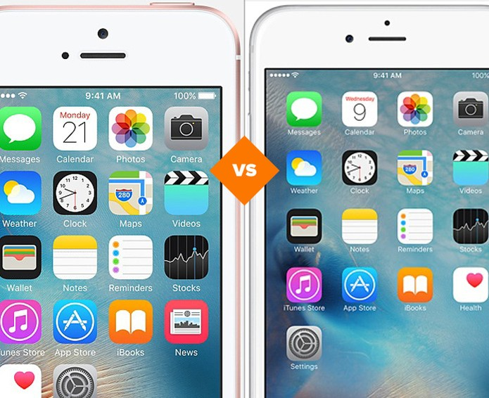 Confira o comparativo entre o iPhone SE e o iPhone 6 (Foto: Arte/TechTudo)