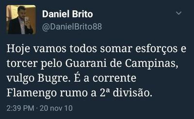 Daniel Brito seca o Flamengo (Foto: Reprodução)