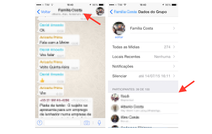 Acessando as configurações de um grupo do WhatsApp para iPhone (Foto: Reprodução/Marvin Costa)