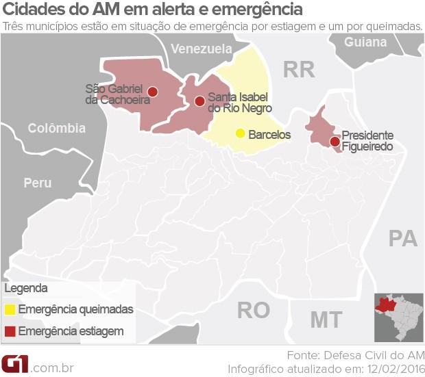 Mapa estiagem no Amazonas (Foto: G1 AM)