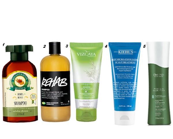1.Shampoo Bio Extratus Arnica, Bio Extratus, R$ 27 2.Shampoo Rehab, Lush, R$ 50 3.Shampoo Botanique Cabelos Oleosos, Vizcaya, R$ 20 4.Tratamento Pré-Shampoo Esfoliante, Kiehl's, R$ 133 5. Shampoo Detox, Amend, R$ 30 (Foto: Divulgação)