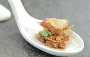 Mil-folhas de batata-doce com steak tartare: receita de Hugo Fleury no 'The Taste'