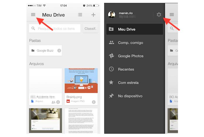 Acessando as configurações do Google Drive para iPhone (Foto: Reprodução/Marvin Costa)