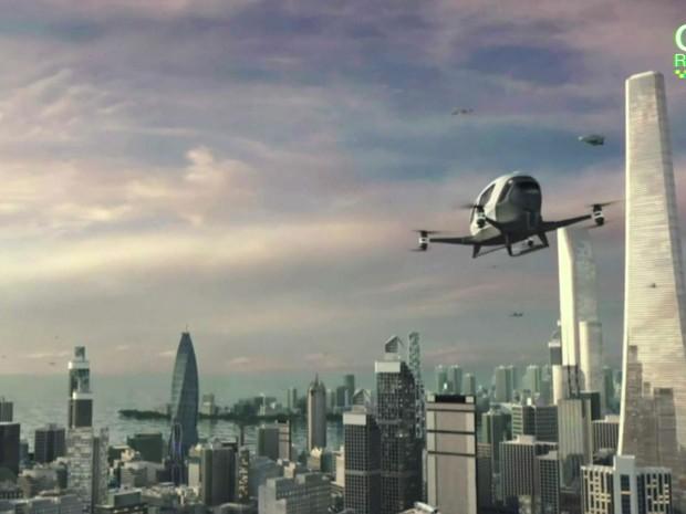 Imagem ilustrativa do drone que carrega passageiro apresentado na CES 2016 (Foto: BBC)