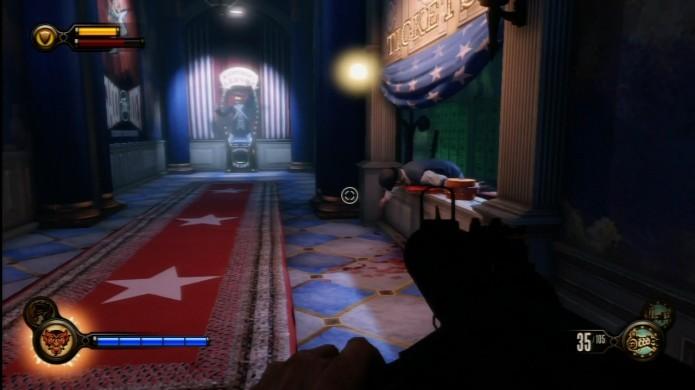 Bioshock Infinite: há um gravador dentro da cabine de bilhetes com o atendente morto (Foto: Reprodução/IGN)