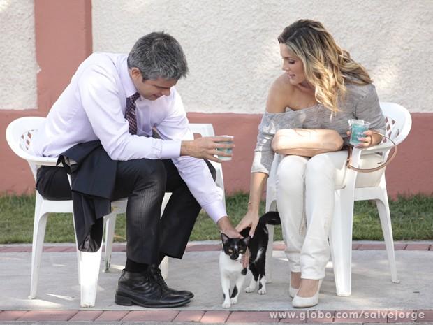 O casal ficou encantado com o gatinho que 'invadiu' o set (Foto: Salve Jorge/TV Globo)