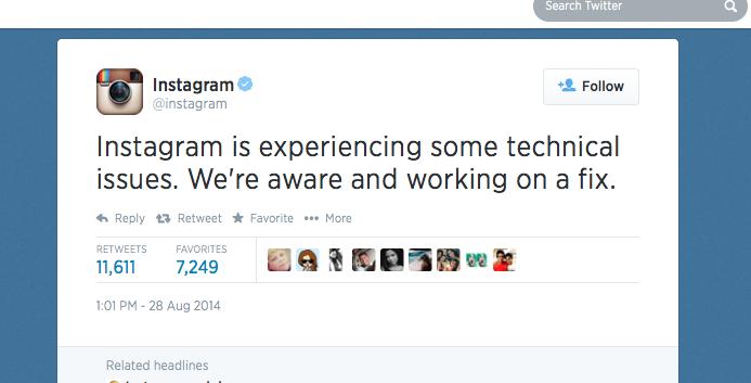 Instagram alerta sobre falha no Twitter e promete resolver problema em breve (Foto: Reprodução/Twitter)