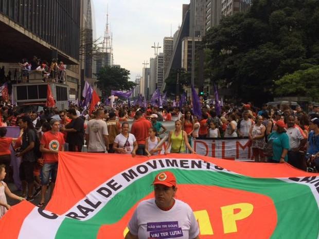 Ato político pró-Lula também encontra-se na Avenida Paulista (Foto: Livia Machado/G1)