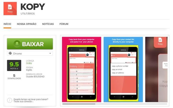 Baixe e instale aplicativo Kopy no seu Google Chrome e no Windows Phone para compartilhar links (Foto: Reprodução/Elson de Souza)
