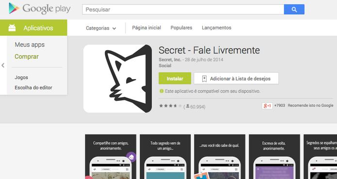 Secret ainda vive na Google Play, loja de aplicativos do Android (Foto: Reprodução/Google)