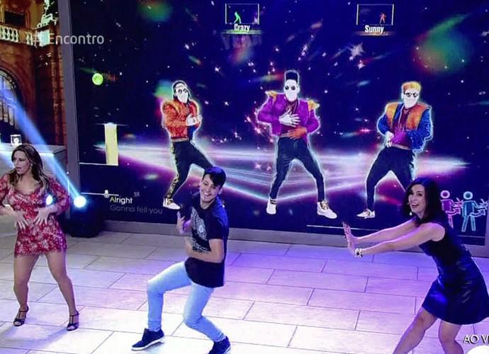 Viviane Araújo, Fátima e o Diegho San, bicampeão mundial de dança virtual (Foto: TV Globo)