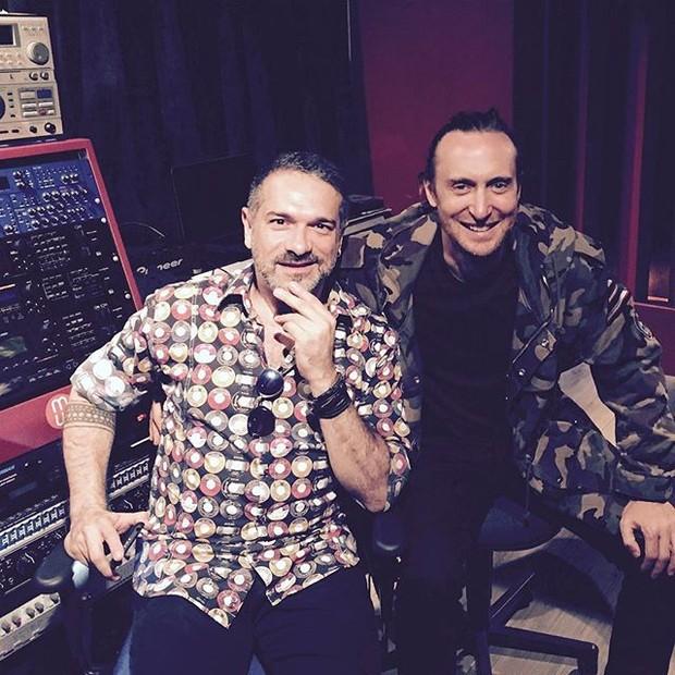 DJ Meme e David Guetta em estúdio no Rio (Foto: Instagram/ Reprodução)