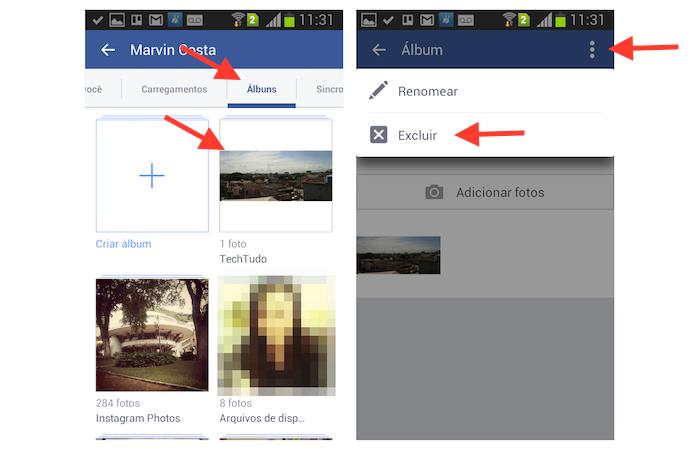 Iniciando a exclusão de um álbum de fotos no Facebook para Android (Foto: Reprodução/Marvin Costa)