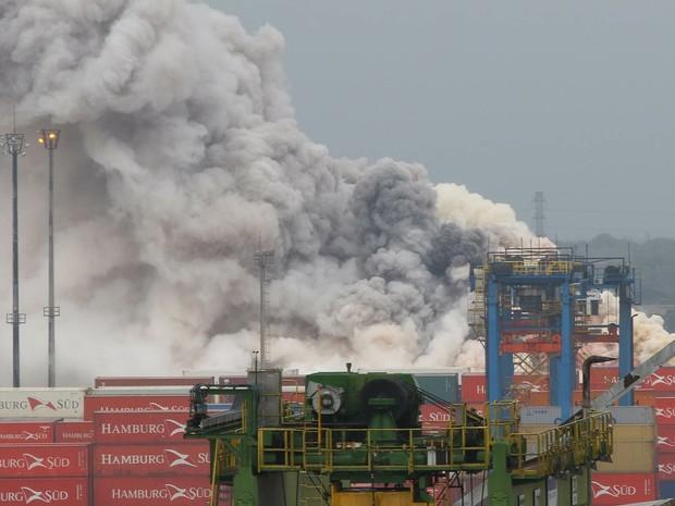 Incêndio atinge o pátio de cargas do terminal alfandegado da Localfrio, na Margem Esquerda do Porto de Santos, no Guarujá (SP), nesta quinta-feira. (Foto: Mauricio de Souza/Estadão Conteúdo)