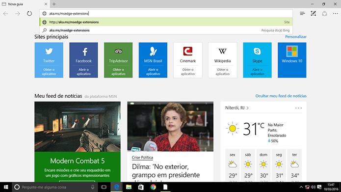 Usuários do Windows Insider precisam acessar complementos do Microsoft Edge em página (Foto: Reprodução/Elson de Souza)