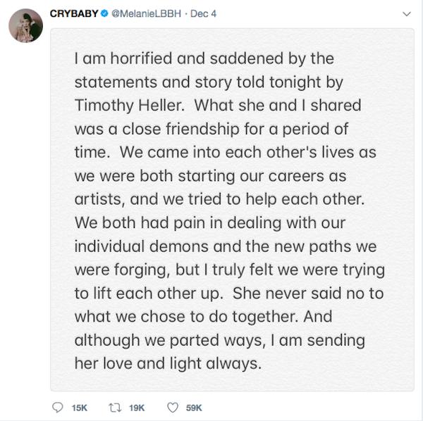 O tuíte no qual Melanie Martinez rebate as acusações de estupro de Timothy Heller  (Foto: Twitter)