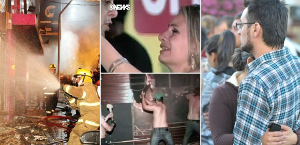 Fogo mata 245 em boate no RS, diz polícia (Fogo mata 245 em boate no RS, diz polícia (Fogo mata 180 em boate no RS, diz polícia (Germano Roratto e Ronald Mendes/Agência RBS e Globo News)))