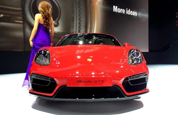 Porsche Boxter GTS no Salão de Pequim (Foto: Guilherme Blanco Muniz/Autoesporte)