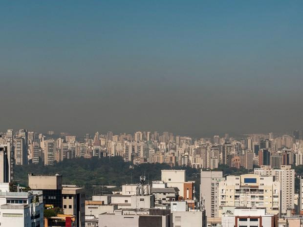Camada de poluição é vista sobre a cidade de São Paulo em foto tirada da Avenida Paulista. A umidade do ar mínima chegou a de 34% às 10 da manhã desta terça-feira (1º) (Foto: Gabriel Soares/Brazil Photo Press/Estadão Conteúdo)