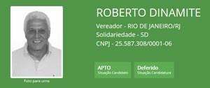 Ficha de Roberto Dinamite no TSE (Foto: Reprodução/TSE)