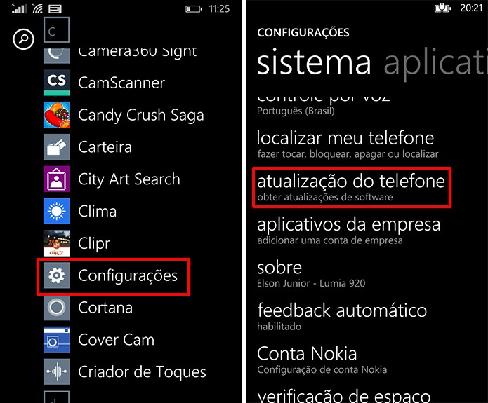 Lumia Denim pode ser atualizado através do menu configurações do Windows Phone (Foto: Reprodução/Elson de Souza)