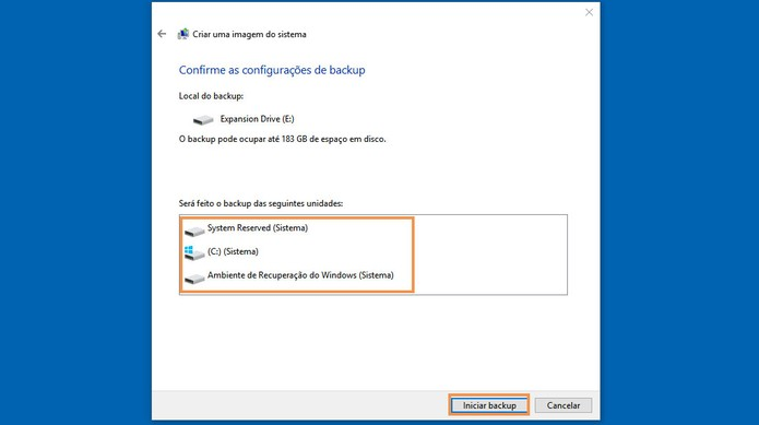 Inicie o backup completo do seu computador pelo Windows 8.1 ou Windows 10 (Foto: Reprodução/Barbara Mannara)