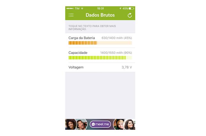 Verificando os dados brutos da bateria do iPhone com o Battery Life (Foto: Reprodução/Marvin Costa)