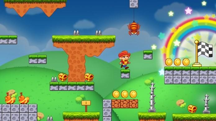 Super Japper Jump é um clone de Super Mario com visual colorido e que exige muito pouco do seu celular (Foto: Reprodução / gameone)