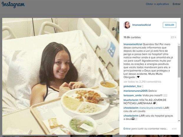 89a824c12081a G1 - Atriz Larissa Manoela deixa hospital após cair de cavalo em ...