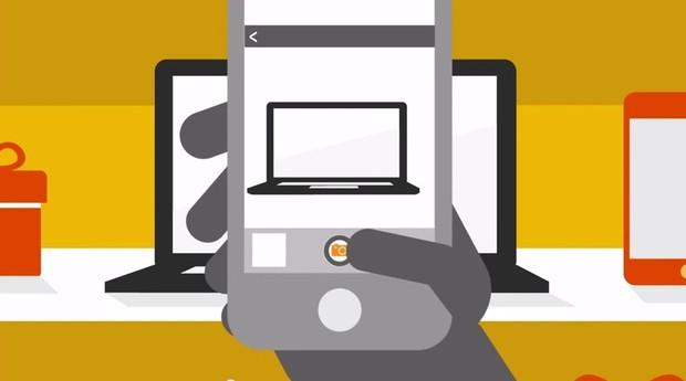 Aplicativo UOL Shopping, com tecnologia da VTX: basta apontar o celular para ver preços (Foto: Reprodução)