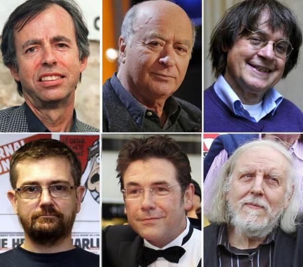 Entre os mortos no ataque estão Bernard Marris, Georges Wolinski, Jean Cabu, Stéphane Charbonnier,  Bernard Verlhac (Tignous) e Philippe Honoré (Foto: AFP)