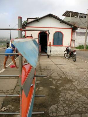 Sede da associação de canoagem de Ubaitaba, no interior da Bahia (Foto: Raphael Carneiro)