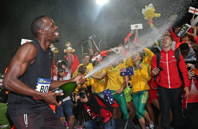 Usain Bolt comemora título do Nitro Athletics (Foto: Getty Images)