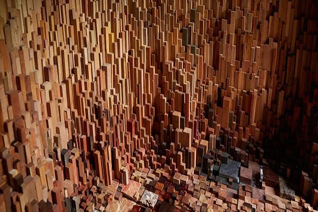 Instalação com amostras de árvores de todo o mundo (Foto: Max Mcclure / divulgação)