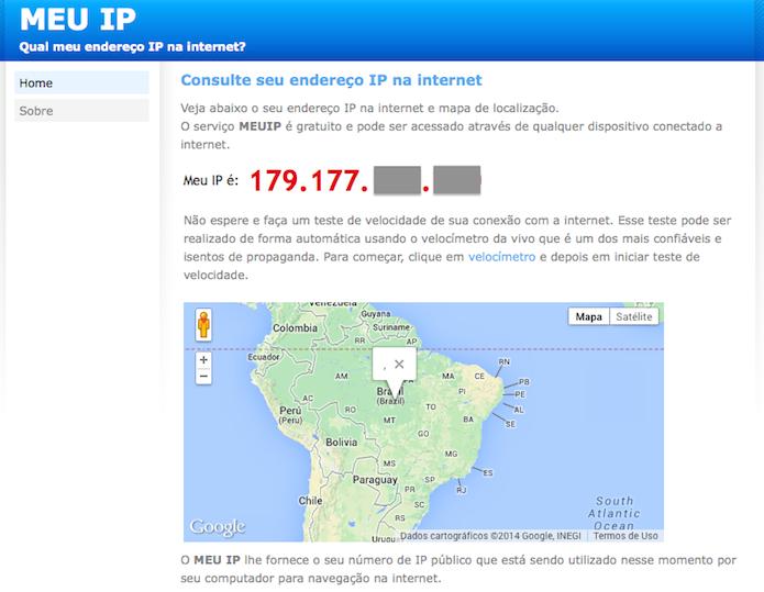 Descobrindo seu endereço de IP externo (Foto: Reprodução/Helito Bijora)