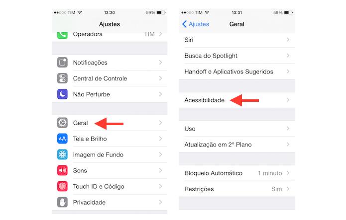 Acessando as configurações de acessibilidade do iOS (Foto: Reprodução/Marvin Costa)
