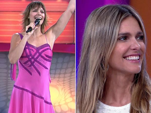 Antes e depois! À esquerda, Fernanda Lima no Vídeo Game e, à direita, em momento atual (Foto: Vídeo Show / TV Globo)