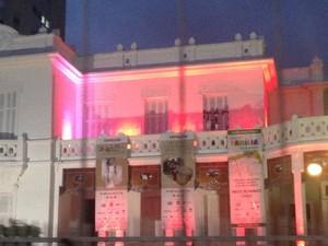 Pinacoteca de Santos é iluminada de rosa (Foto: Mariane Rossi/G1)