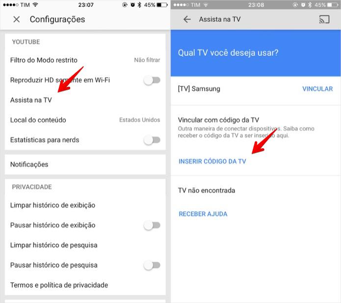Vinculando smart TV ao celular (Foto: Reprodução/Helito Bijora)