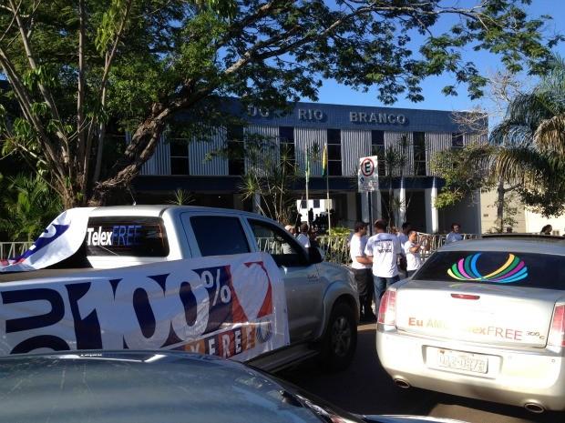 Protesto Telexfree Acre (Foto: Rayssa Natani/G1)