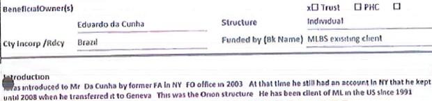 Formulário aponta que Cunha mantinha uma conta bancária nos Estados Unidos desde 1991 no banco Merryll Lynch (atual Julius Baer) (Foto: Reprodução)